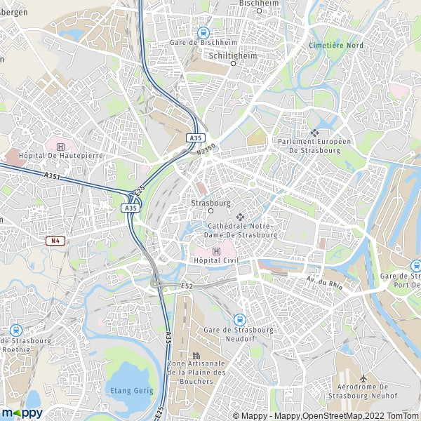 Map for the city of Strasbourg