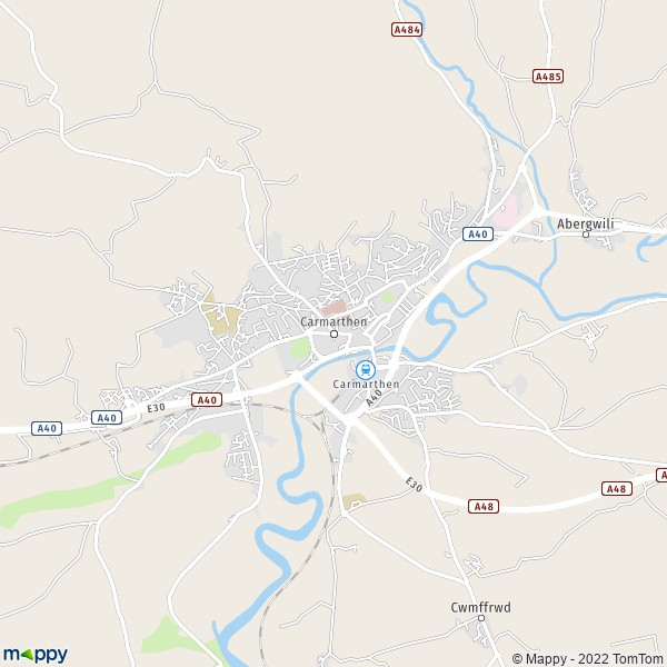 Map for the city of Carmarthenshire